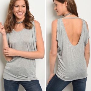 Gray open back Top